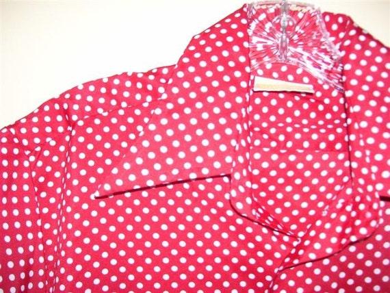 Mens Vintage 70s Short Sleeve Red Polka Dot Shirt