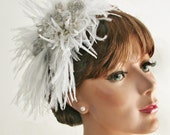 Headpiece Moonlight Serenade   Ostrich Feather  Freshwater Pearl  Sterling Silver  Moonstone Fascinator