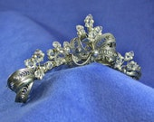 Bridal Tiara Comb made from Sterling Silver Vintage Jewelry Swarovski Crystal and Sterling Silver Beads One of a Kind