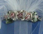 Floral Bridal Crown Wreath made of Hand made Silk Shantung Roses with Freshwater Pearl, Sterling Silver, Crystal Accents, Detachable Veil