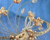 Bridal Wedding Tiara Headband Peach Blush Pink Freshwater Pearl Flowers with Swarovski Crystal Dragonfly