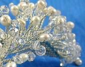 Tiara Comb Classic Swarovski Crystal and Freshwater Pearl Fringe Tiara Comb