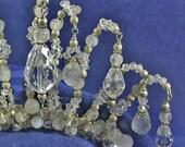 Wedding Bridal Tiara Inspired by My Fair Lady Swarovski Crystal and Rainbow Moonstone Pear Drops