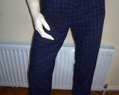 Vintage 70s Blue Tartan Narrow Leg Pants Trousers Mad Men