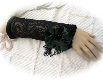 Goth Black Lace Opera Glove Gauntlet