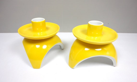 Mod Yellow Candle Holders