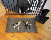 Folk art horses with wings woven rug/ wallhanging