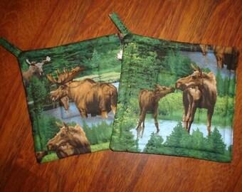 Moose Love Potholders