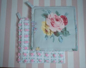 Vintage Pink Roses & Chenille Potholders