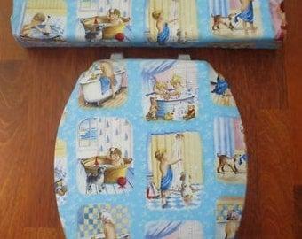 Vintage Childs Bath Time Stories Toilet Seat Cover Set