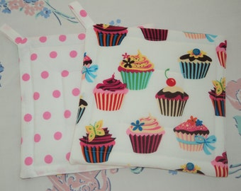 Cupcakes Cherry on Top ...Pink Polka Dot Potholders