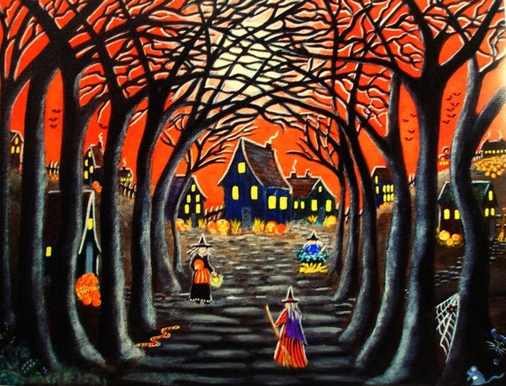 "Halloween art print titled "" Home to Broomtree """