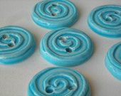 Blue Spiral Buttons Set of 6