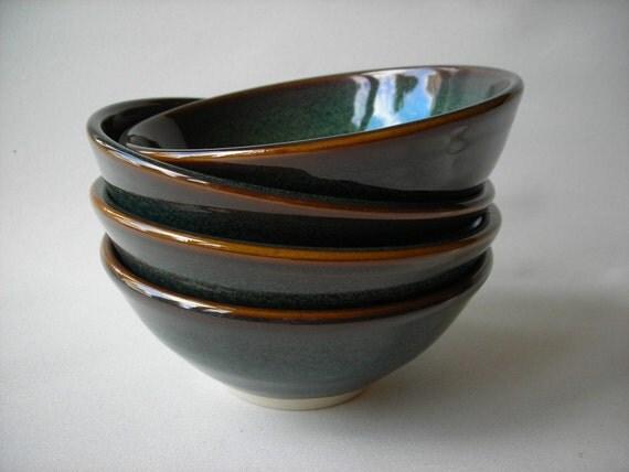 Pottery Bowls Set of 4 Soup Bowls Medium Sized Bowls Stoneware Bowls
