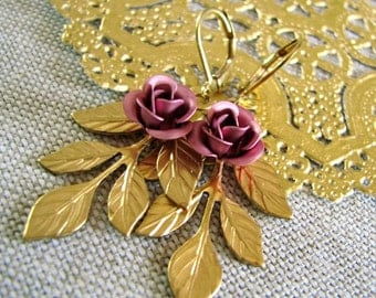 Jolie . Lilac Roses, Raw Brass, and Leverback Earwires