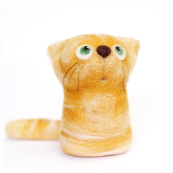 Keefe, the Orange Tabby - felt art toy