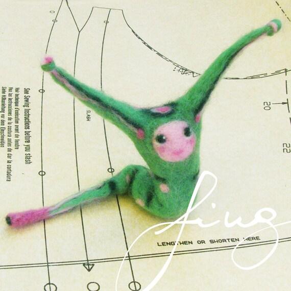 Dash, The Caterpillar needle felted art doll