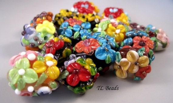 SALE Orphan Florals Handmade Lampwork Glass Beads SRA