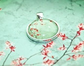 Mint Green Jewelry - Mint Julep - mint and pink photo pendant set in round silver colored metal - mint