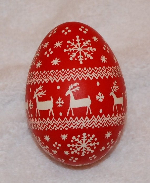 Christmas Pysanky Goose Egg Ornament Red And White Reindeer