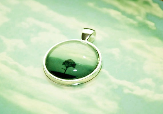 Ombre blue Teal Photo Jewelry-One Tree - black tree silhouette photo pendant round silver colored metal ombre teal blue