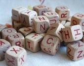 Vintage Scrabble Cubes 1970's- Set of 16, Red Letters