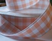 RESERVED FOR kathleenmarasco-Peach/White Gingham Ribbon- 13 Yards