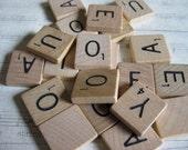 Vintage Vowel Scrabble Tiles, Bulk Scrabble, Jewelry Supplies----Random Set of 20