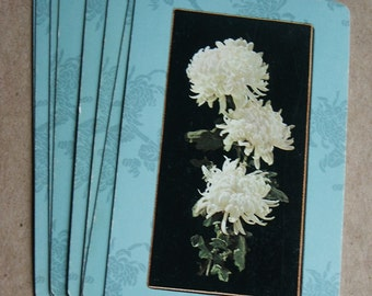 Vintage White Flower Playing Cards--Set of 10