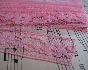 Vintage Old Rose Pink Lace- 3 Yards sewing, crafts, supplies