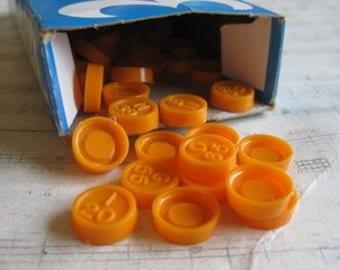 Vintage Orange Bingo Pieces- Set of 20