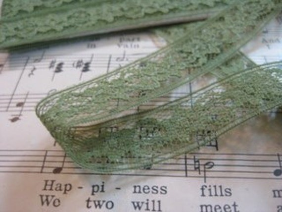 Vintage Green Lace- 3 Yards