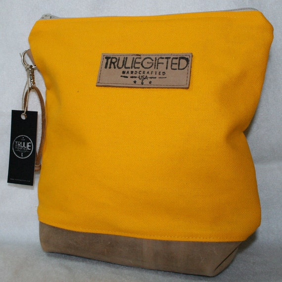 Yellow Canvas and Tan Leather Cosmetic Bag - SALE