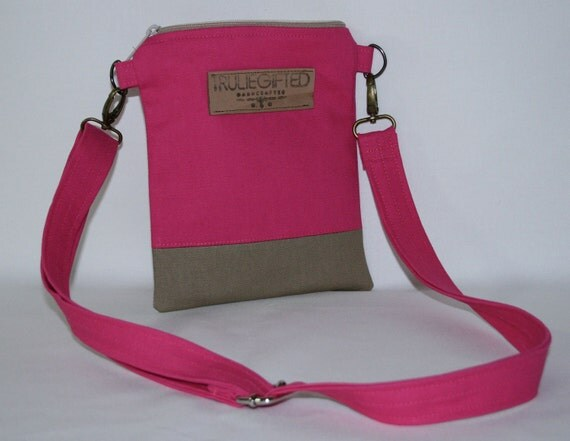 Small Pink Canvas Purse w/ Adjustable Strap