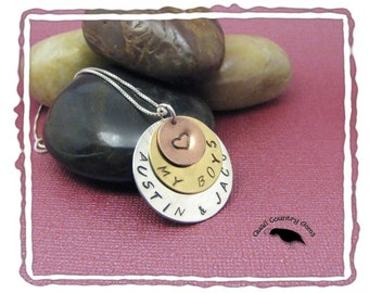 Mother's Personalized Hand Stamped Pendant, Mixed Metal, Silver, Brass and Copper