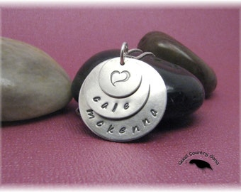 Personalized Hand Stamped Mom Necklace Pendant in Sterling Silver