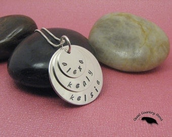 Personalized Hand Stamped Mom Pendant Necklace, Sterling Silver