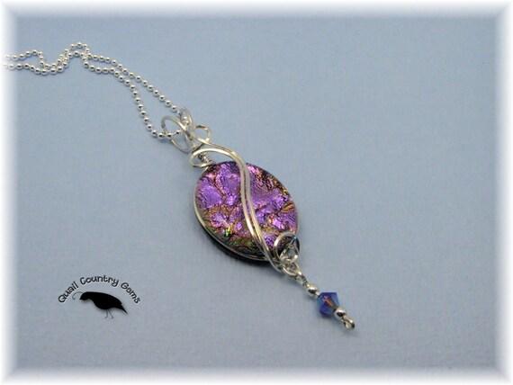 Pink Dichroic Glass Pendant Wire Wrapped with Swarovski Crystal Item 170ww