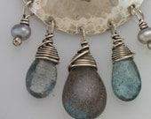 Moondrop Earrings with Moss Aquamarine