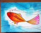 Reserved for Lora, ACEO Watercolor Painting, Koi Fish