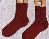 Ladies red diamond lace wool socks - size 8 - 8.5