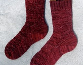 Ladies burgundy cashmere merino wool socks - size 8-9