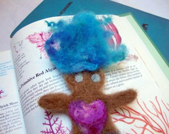 SALE  Blue Haired Needlefelted Mermaid Bookmark