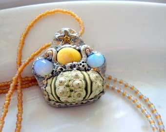 Whimsical Sea Urchin Long Polymer Clay Necklace