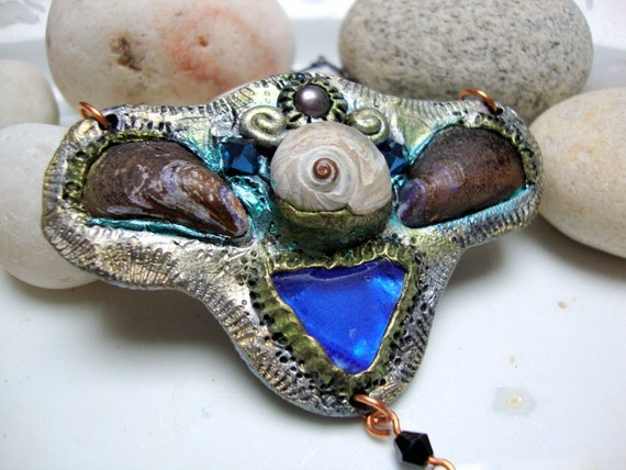 SALE Cobalt Seaglass and Shells Necklace