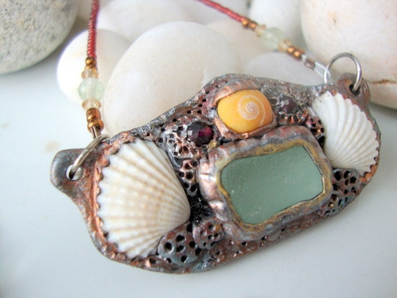 Aqua Seaglass and Shell Beaded Necklace