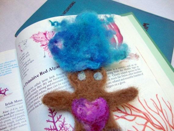 SALE  Blue Haired Needlefelted Mermaid Bookmark