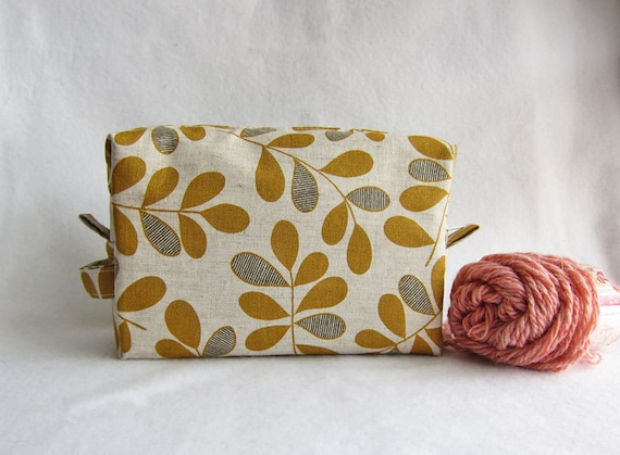 Linen Box Pouch Inner zip pocket -- Knitting project bag