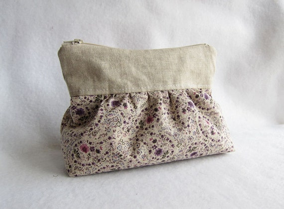 SALE Japanese Linen Cosmetic Bag -- pleated chubby pouch