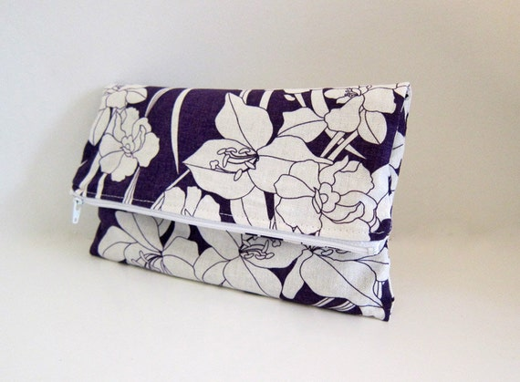 Fold Over 3 Compartment Clutch -- Linen